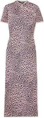 Alessandra Rich Crystal-embellished Leopard-print Silk-jacquard Midi Dress