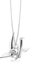 Nuovegioie Origami Sterling Silver Bird Pendant Long Necklace