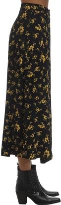 Ganni Printed Crepe Midi Skirt