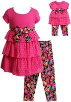 Dollie & Me Girls 4-14 Tiered Polka-Dot Dress & Floral Capri Leggings Set