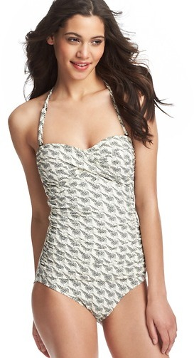 LOFT Beach Geometric Giraffe Print One Piece Swimsuit