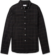 Saturdays NYC Crosby Button-Down Collar Checked Tencel, Cotton and Wool-Blend Shirt