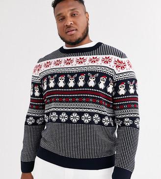 New Look Plus Holidays sweater in penguin fairisle