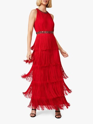 Phase Eight Albertina Dress Embellished Open Back Fringe Maxi Dress, Scarlet