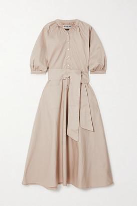 ÀCHEVAL PAMPA Argentina Belted Cotton-blend Midi Shirt Dress - Beige