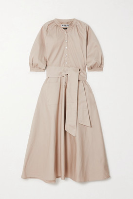 ÀCHEVAL PAMPA Argentina Belted Cotton-blend Midi Shirt Dress