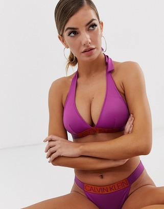 Calvin Klein contrast logo strap plunge bikini top in purple