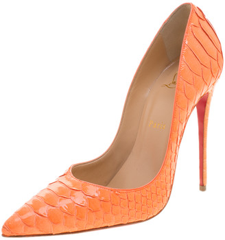 Christian Louboutin Florescent Orange Python Leather So Kate Pointed Toe Pumps Size 39