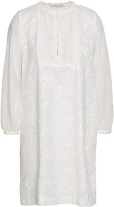 Vanessa Bruno Paneled Embroidered Cotton And Crepe De Chine Mini Dress