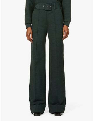 Victoria Victoria Beckham Belted wide-leg high-rise stretch-jersey trousers