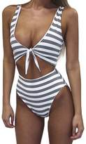 QIYUN.Z Women's Summer Bikini Swimwear Striped Bodysuit