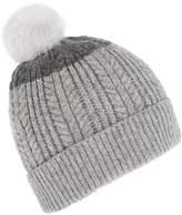 Joules Fine cable bobble hat with faux fur pompom