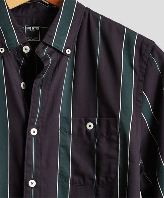 Todd Snyder Button Down Bold Stripe Shirt in Green