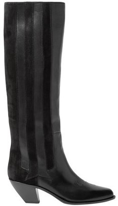 Golden Goose Nebbia Paneled Suede And Embroidered Leather Knee Boots