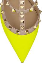 Gianvito Rossi Rockstud neon leather pumps