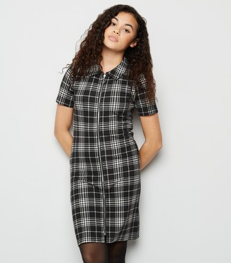 New Look Girls Check Collared Zip Up Dress