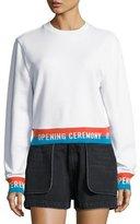 Opening Ceremony Crewneck Jersey Elastic-Logo Pullover Sweatshirt, White
