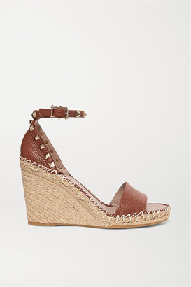 Valentino Garavani Rockstud 105 Textured-leather Espadrille Wedge Sandals - Tan