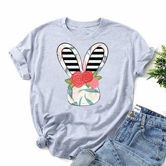 Carmar Womens Cute Graphic Tshirt Crewneck Short Sleeve Tops Teen Girls Shirts Flower Striped Bunnies Rabbit Easter Tees Yellow