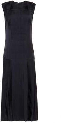 Cédric Charlier Pleated Cupro-satin Midi Dress