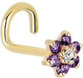 Body Candy Solid 14k Yellow Gold Purple and Clear Cubic Zirconia Flower Left Nostril Screw 18 Gauge