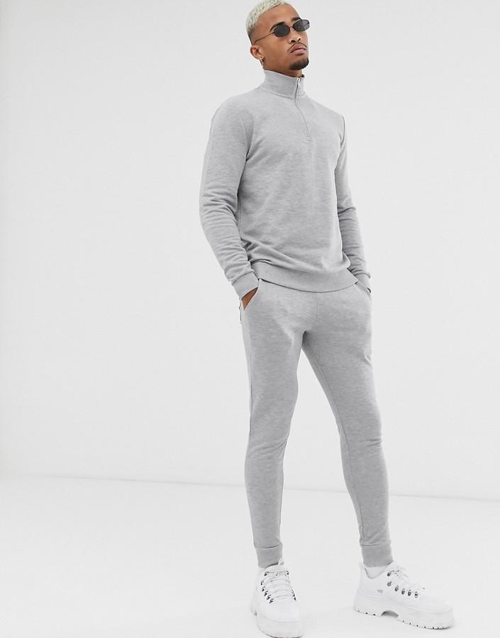 Asos Design DESIGN tracksuit with half zip sweatshirt in gray marl