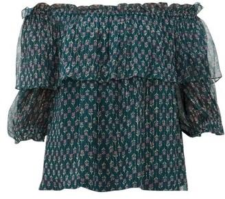 Beulah Ridhi Off-the-shoulder Floral-print Chiffon Top - Green Multi