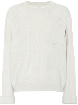 Brunello Cucinelli Embellished ribbed-knit cashmere sweater