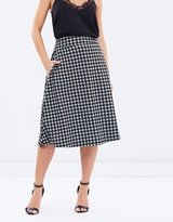 Privilege Checked Midi Skirt