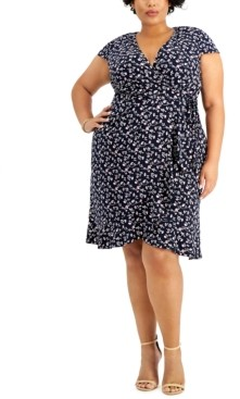 Jessica Howard Plus Size Ruffled Faux-Wrap Dress