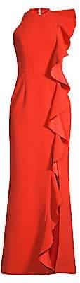 Rebecca Vallance Women's Galerie Ruffle Trim Halter Gown