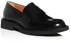 Bottega Veneta Men's Leather Apron-Toe Penny Loafers