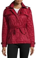 Burberry Finsbridge Hooded Quilted Short Jacket, Dark Crimson