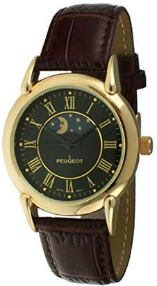 Peugeot Men's 14k Gold Plated Dress Watch - Vintage with Lunar Window and Crocodile-Embossed Leather Strap