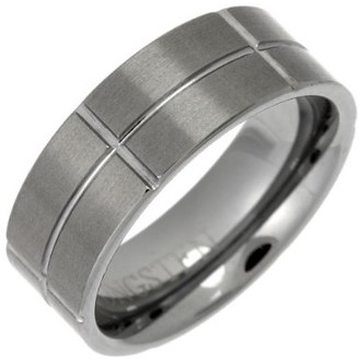 Theia Tungsten Flat Court Matt and Grooves 8mm Ring - Size Q