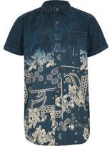 River Island Boys Navy bandana fade short sleeve shirt
