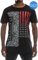 JC DISTRO Hipster Hip Hop USA American Paisley Extra Long eLong BLACK T-shirt, 3X-LARGE