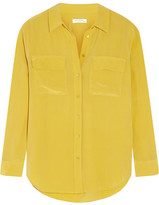 Equipment Slim Signature Washed-silk Shirt - Marigold