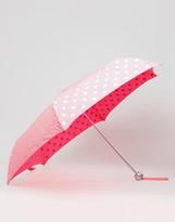 Cath Kidston Minilite Button Spot Umbrella in Neon Pink