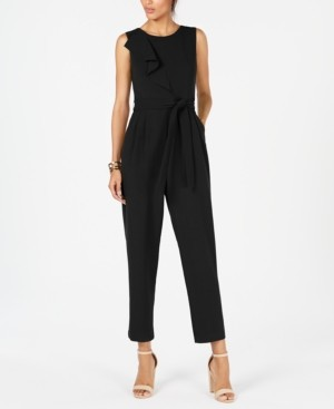Jessica Howard Cascade-Ruffle Belted Jumpsuit
