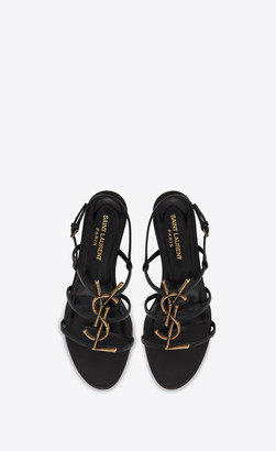 Saint Laurent Sandals Cassandra Open Sandals In Smooth Leather With Gold-toned Bamboo Logo Black 1