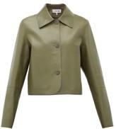 Loewe Cropped Leather Jacket - Womens - Khaki