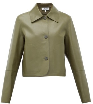 Loewe Cropped Leather Jacket - Womens - Khaki