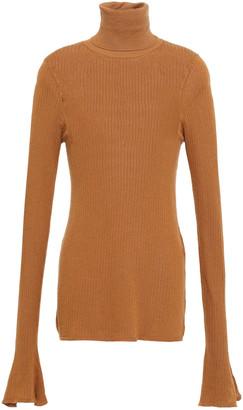 Victoria Beckham Ribbed Cotton-blend Turtleneck Top