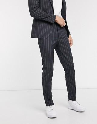Asos DESIGN super skinny suit pants in navy wide pinstripe