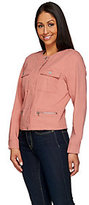 As Is Denim & Co. Round Neck Utility Cropped Jacket