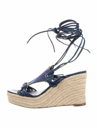 Hermes Leather Wedge Sandals Blue