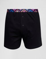 Asos Jersey Boxer In Black With Aztec Waistband