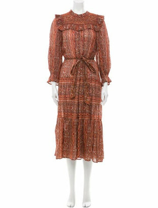 DÔEN Paisley Print Midi Length Dress w/ Tags Red Paisley Print Midi Length Dress w/ Tags