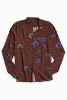 Urban Outfitters Owen Rose Print Rayon Button-Down Shirt